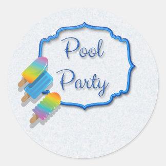 Festa na piscina do Popsicle Adesivo