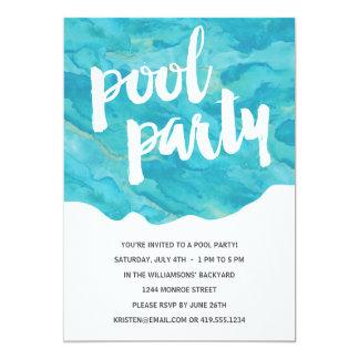 Festa na piscina do respingo   do quintal convite 12.7 x 17.78cm