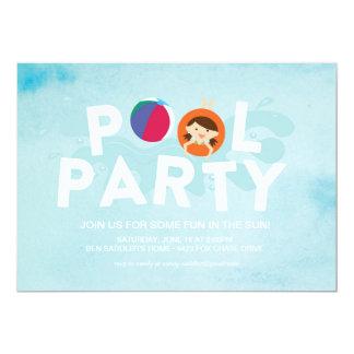 Festa na piscina do verão convite 12.7 x 17.78cm