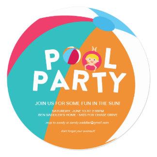 Festa na piscina do verão convite quadrado 13.35 x 13.35cm