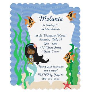 Festa na piscina étnica do aniversário da sereia convite 12.7 x 17.78cm