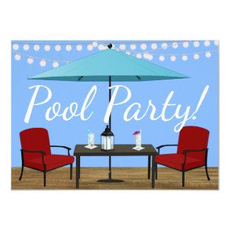 Festa na piscina exterior convite 11.30 x 15.87cm