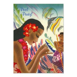 Festa na piscina havaiana INVITATON dos leus Convite 11.30 X 15.87cm