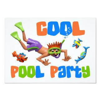 Festa na piscina legal convite 12.7 x 17.78cm
