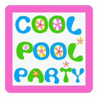 Festa na piscina legal convite quadrado 13.35 x 13.35cm