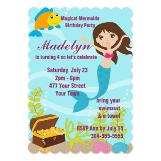 Festa na piscina mágica das sereias convite personalizado