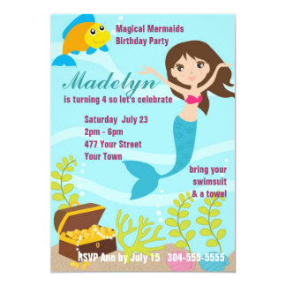 Festa na piscina mágica das sereias convites personalizado