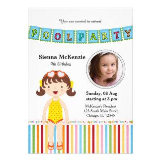 Festa na piscina (menina) com uma foto convites personalizados