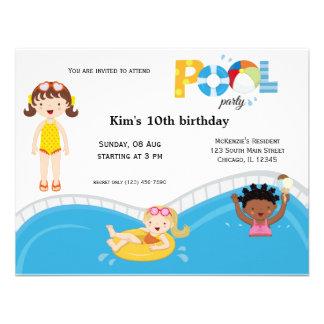Festa na piscina (menina) convite personalizado