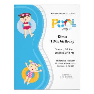 Festa na piscina (menina) convite personalizados
