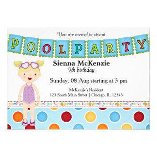 Festa na piscina (menina) convites