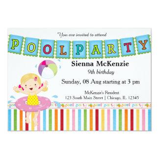 Festa na piscina (menina) convite 12.7 x 17.78cm