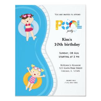 Festa na piscina (menina) convite 10.79 x 13.97cm