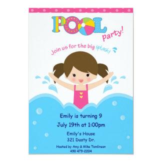 Festa na piscina - menina convite 12.7 x 17.78cm