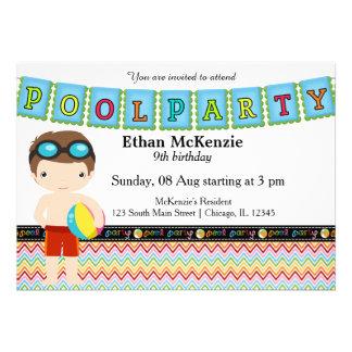 Festa na piscina (menino) convites personalizado