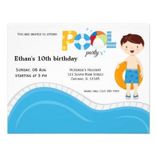 Festa na piscina (menino) convites