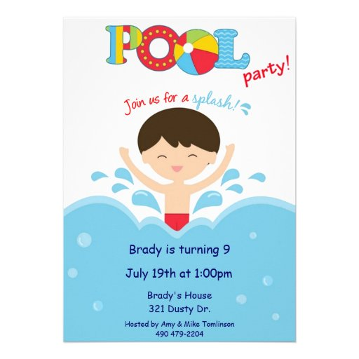 Festa na piscina - menino convite personalizados