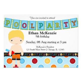 Festa na piscina (menino) convite personalizado