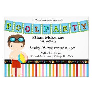 Festa na piscina (menino) convite