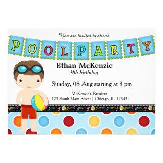 Festa na piscina (menino) convite personalizados