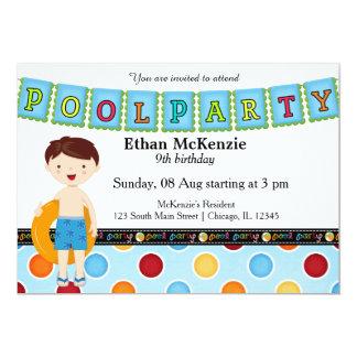 Festa na piscina (menino) convite 12.7 x 17.78cm