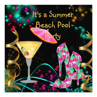 Festa na piscina preta cor-de-rosa da praia do convite quadrado 13.35 x 13.35cm