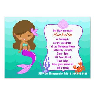 Festa na piscina roxa da sereia convite personalizados