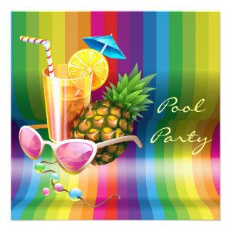 Festa na piscina tropical do cocktail da onda do a convites personalizados