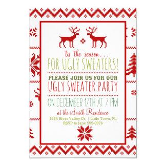 Festa natalícia foleiro feia do Natal da camisola Convite 12.7 X 17.78cm
