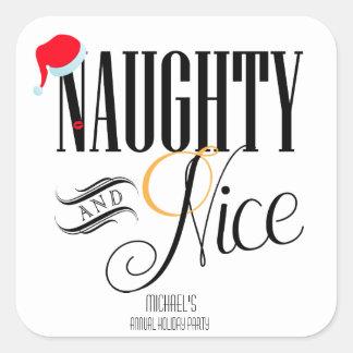 Festa natalícia impertinente e agradável adesivo quadrado