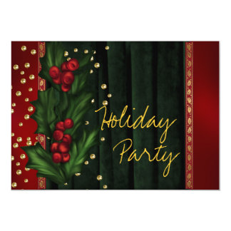 Festa natalícia incorporada verde vermelha convite 12.7 x 17.78cm