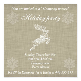 Festa natalícia na moda de linho da rena do Natal Convite Personalizado