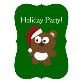 Festa natalícia! Urso do papai noel Convites
