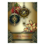 Festa natalícia verde vermelha do Natal do ouro Convites Personalizado