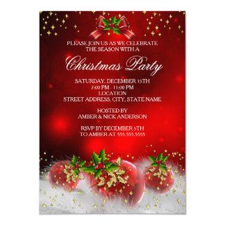 Festa natalícia vermelha do Natal do azevinho do Convite 11.30 X 15.87cm