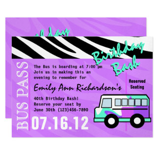 Festança do aniversário do ônibus do partido convite 12.7 x 17.78cm