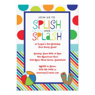 Festança do respingo de Splish (azul) Convites Personalizados