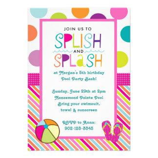 Festança do respingo de Splish (rosa) Convites