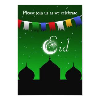 Festão colorida com convite de festas de Eid da