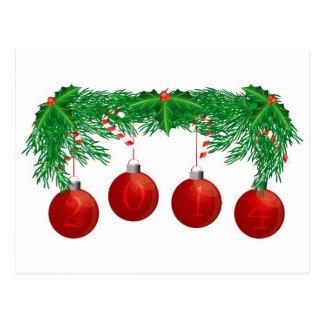 Festão da árvore de Natal com o cartão de 2014 orn Cartoes Postais