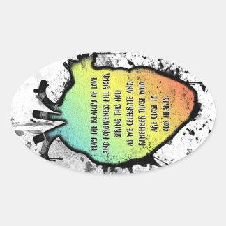 Festival do coração de Holi do amor e da cor Adesivo Oval
