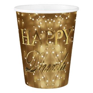 Festival feliz de Diwali da tipografia do ouro das Copo De Papel
