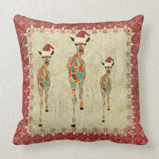 Festive Amber & Azure Giraffes Red Mojo Pillow