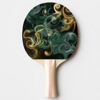 festivo brilhante do verde, do ouro, o vermelho e raquete de ping pong