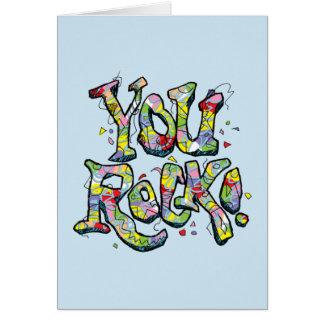"""Festivo """"você rocha!"""" Cartão de nota da rotulação"""