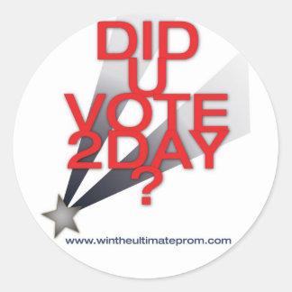 Fez a etiqueta do voto de U hoje Adesivo