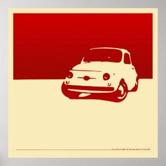 Fiat 500, 1959 - vermelho no poster de creme