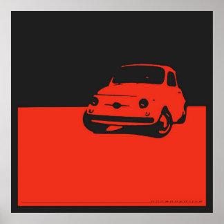 Fiat 500, 1959 - vermelho no preto do carvão veget poster
