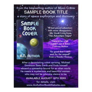 Ficção científica do espaço da promoção do livro panfleto personalizados