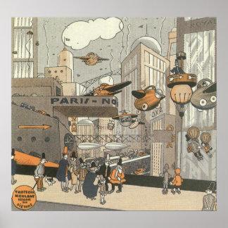 Ficção científica Steampunk Paris urbana do vintag Poster